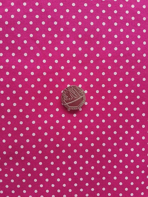 Rose & Hubble 100% Cotton Poplin Fabric - 3mm Polkadot Spot - Cerise Pink