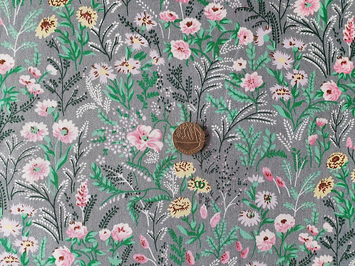 100% Cotton Rose & Hubble Poplin Fabric - Grey with Pink Floral Print