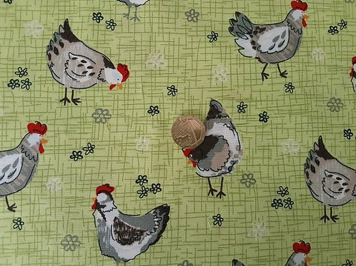 Rose & Hubble 100% Cotton Poplin Fabric - Chicken in the Meadow