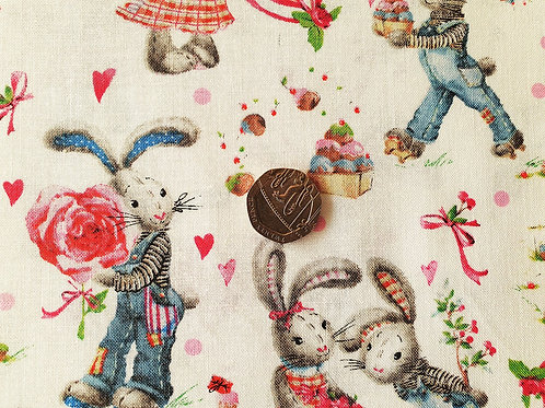 John Louden True Craft Cotton Poplin Fabric - Rabbits in Love