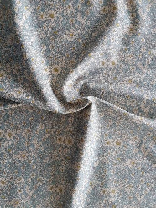 Rose & Hubble 100% Cotton Poplin Fabric - Small Floral design - pale blue