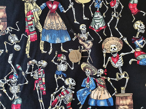 Rose & Hubble 100% Cotton Poplin Fabric - Musical Dancing Skeletons design