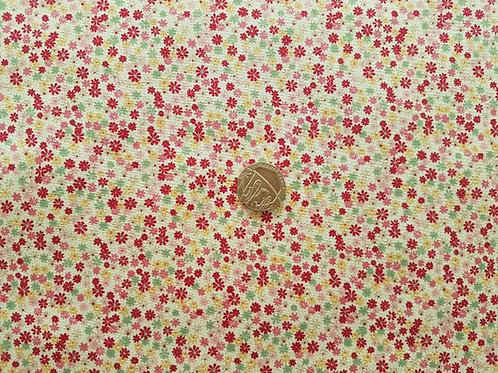 100% Cotton Poplin Fabric - Cream with Pink & Peach Ditsy Floral print