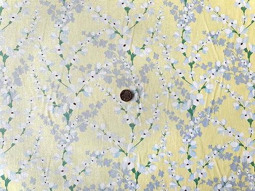 100% Cotton Rose & Hubble Poplin Fabric - Pale Yellow with Grey and White Floral