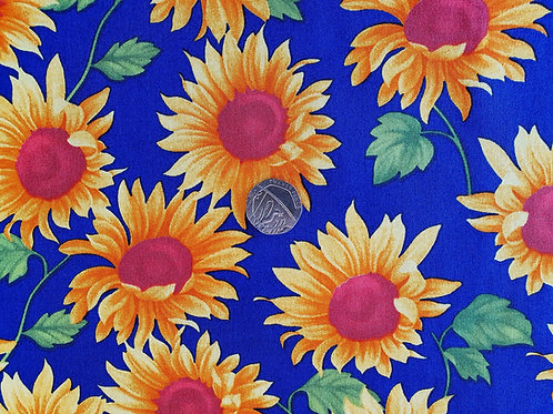 Top Quality 100% Cotton Poplin Fabric - Large Sunflower Floral Design - Royal Bl