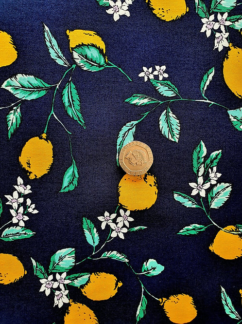 Top Quality 100% Cotton Poplin Fabric - Navy Blue with Lemons Design