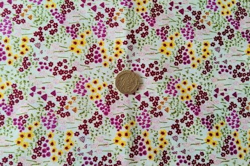 100% Cotton Poplin Fabric - White mini yellow/Wine Floral prin