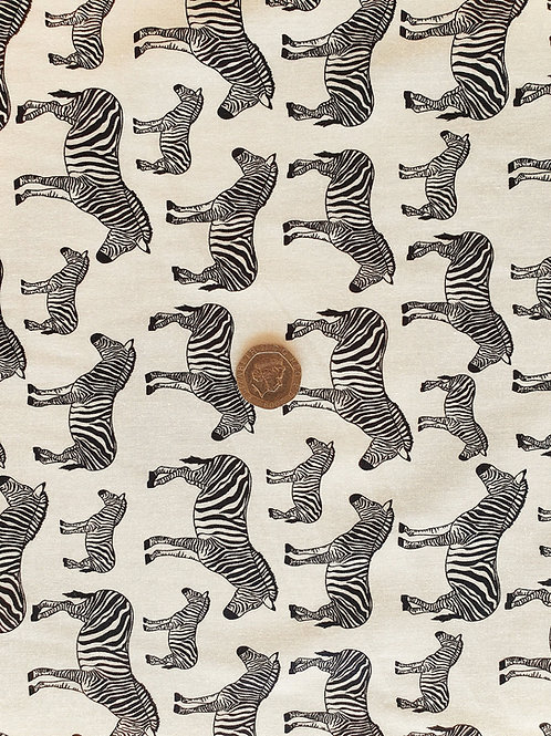 Rose & Hubble 100% Cotton Poplin Fabric - Ivory with Black Zebra