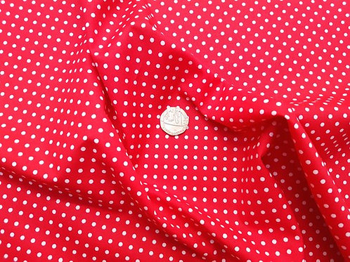 Rose & Hubble 100% Cotton Poplin Fabric - 3mm Polkadot Spot - Red