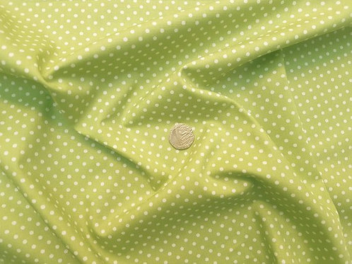 Rose & Hubble 100% Cotton Poplin Fabric - 3mm Polkadot Spot - Lime Green
