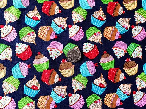 Rose & Hubble 100% Cotton Poplin Fabric - Cupcakes on Navy