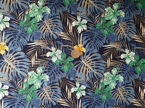 100% Cotton Rose & Hubble Poplin Fabric - Navy Jungle Floral Print