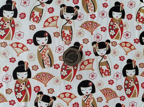 Rose & Hubble 100% Cotton Poplin Fabric - Ivory with Japanese geisha Girl