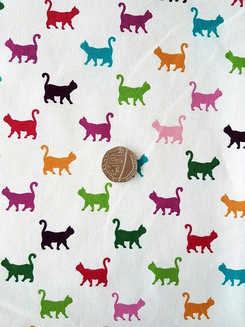 Rose & Hubble 100% Cotton Poplin Fabric - Colourful Cats