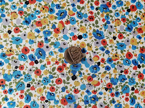 Top Quality 100% Cotton Rose & Hubble Poplin Fabric - Blue Multi-coloured Small