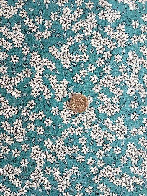 John Louden 100% Cotton Poplin Fabric - Jade Green with White Floral print