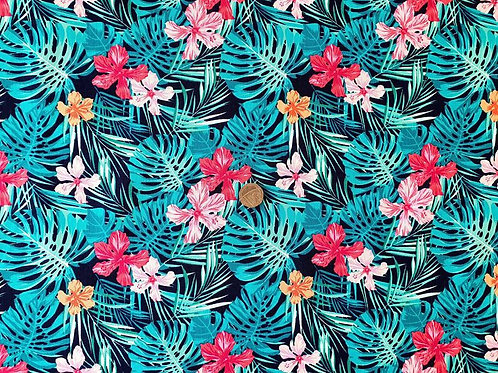 100% Cotton Rose & Hubble Poplin Fabric - Navy Jungle with Fuchsia Pink Floral P