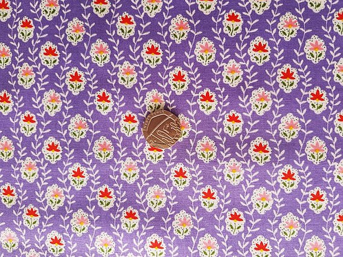 Rose & Hubble 100% Cotton Poplin Fabric - Deep Lilac Small Floral print