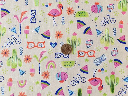 100% Cotton Poplin Fabric - Hot Summer Fun! - Dressmaking , Quilting, Craft