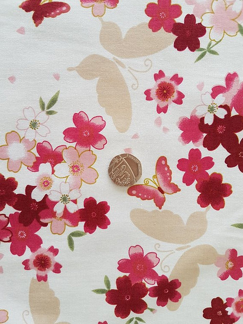 100% Cotton Poplin Fabric - Butterflies & flowers