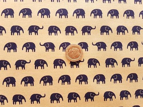 John Louden 100% Cotton Poplin Fabric - Elephant Beige & Navy