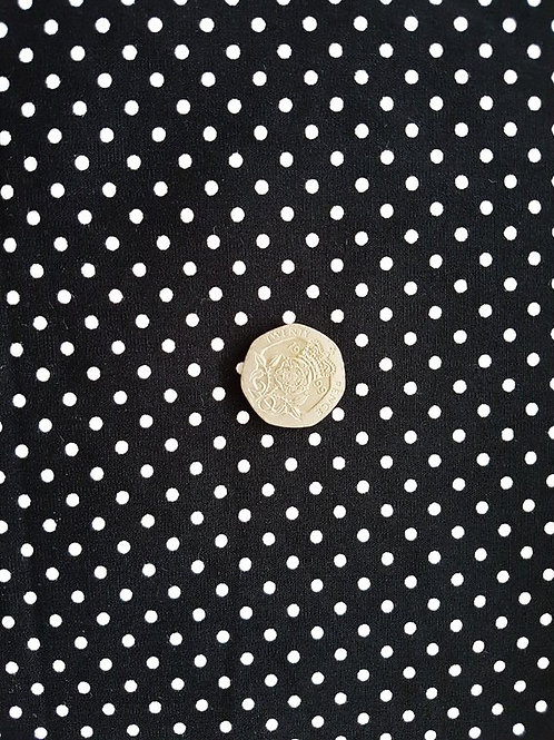 Rose & Hubble 100% Cotton Poplin Fabric -Black  3mm Polkadot Spot