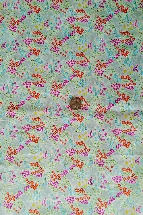 100% Cotton Poplin Fabric - White mini Floral print-Orange/silve