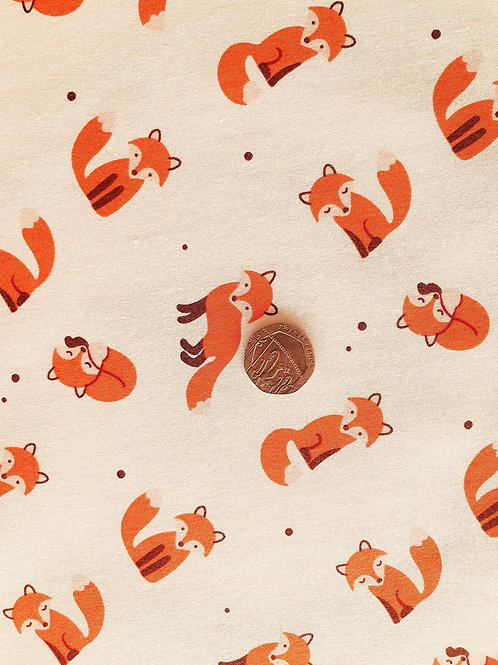 Rose & Hubble 100% Cotton  Fabric - Red Fox - Dressmaking , Quilting, Craft