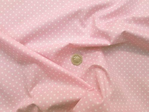 Rose & Hubble 100% Cotton Poplin Fabric - 3mm Polkadot Spot - Pale Pink