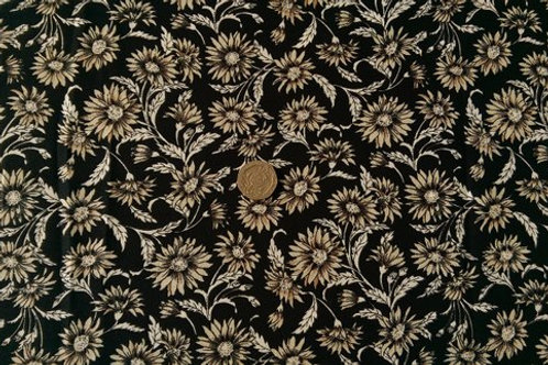 100% Cotton Poplin Fabric - Black with Beige Floral print