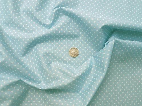 Rose & Hubble 100% Cotton Poplin Fabric - 3mm Polkadot Spot - Pale Blue