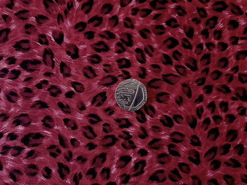 Rose & Hubble 100% Cotton Poplin Fabric - Jungle Leopard Animal print - Red