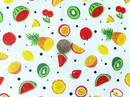 100% Cotton Poplin Fabric - White with Summer Fruits - Dressmaking , Quilting, C