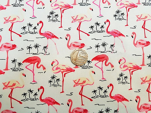 Rose & Hubble 100% Cotton Poplin Fabric - Ivory with Pink Flamingos