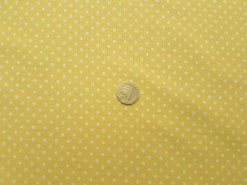 Rose & Hubble 100% Cotton Poplin Fabric - 3mm Polkadot Spot - Lemon