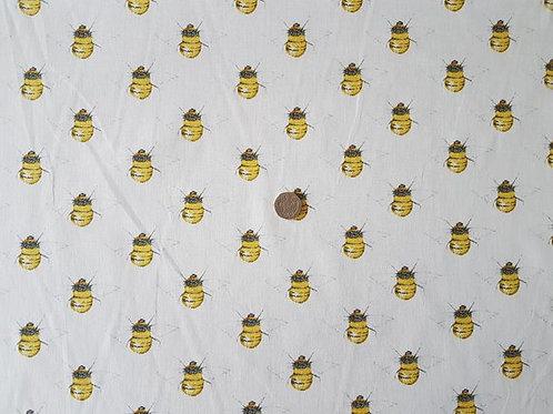 100% Cotton Poplin Fabric - Bumble Bee on Cream Ivory