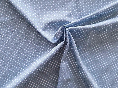 Rose & Hubble 100% Cotton Poplin Fabric - wedgewood blue 3mm Polkadot Spot