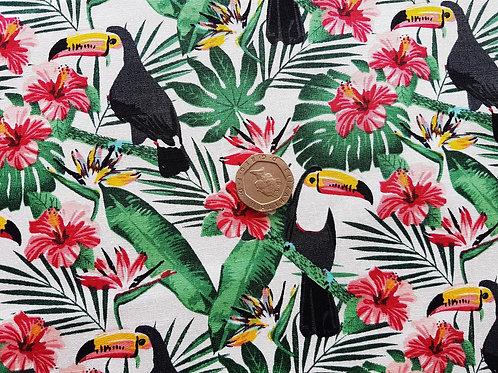 Rose & Hubble 100% Cotton Poplin Fabric - Jungle Toucan Bird