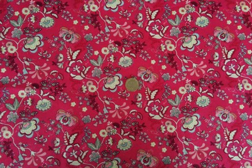 100% Cotton Poplin Fabric - Cerise Pink Floral print