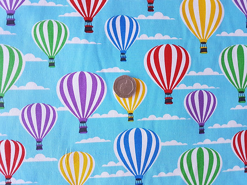 Rose & Hubble 100% Cotton Poplin Fabric - Turquoise Hot Air Balloons