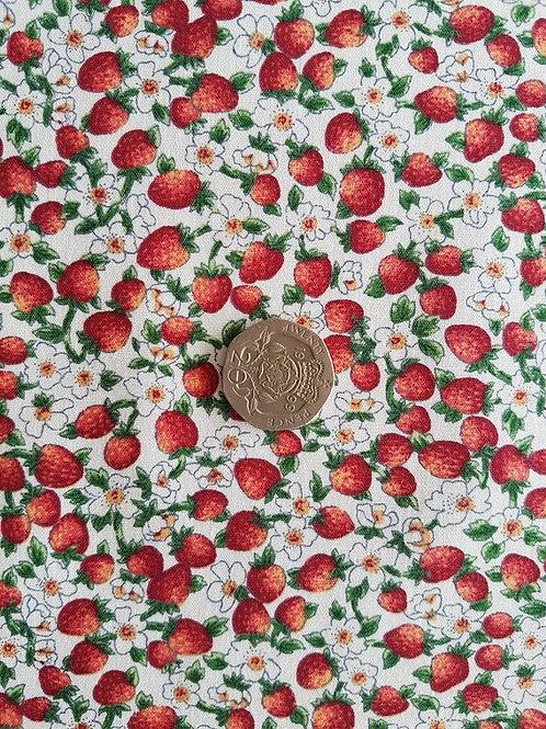 100% Cotton Poplin Fabric - Mini Strawberries