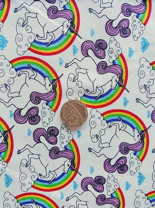 Rose & Hubble 100% Cotton Poplin Fabric - Rainbow Unicorn