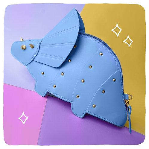 Blue Triceratops Dinosaur Crossbody Bag