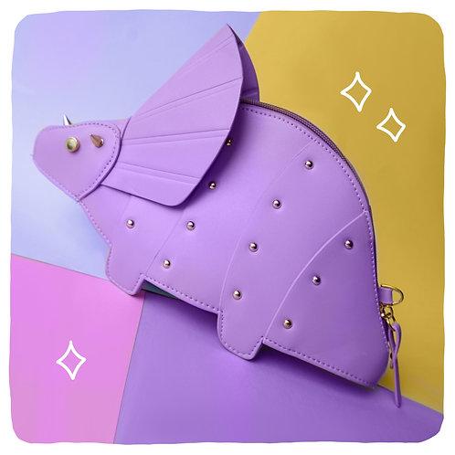 Lilac Triceratops Dinosaur Crossbody Bag