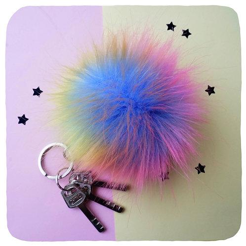 Rainbow Fuzzball Keyring