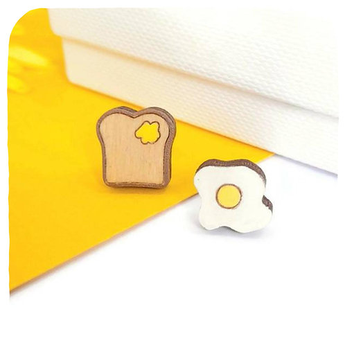 Eggs and Toast Stud Earrings