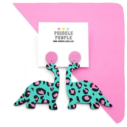 Leopard Print Dinosaur Drop Earrings