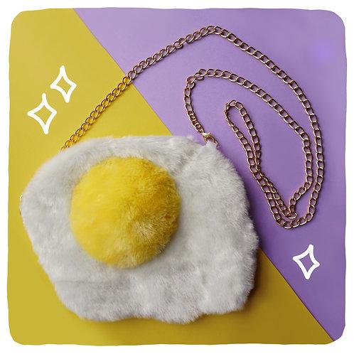 Fried Egg Plush Crossbody Bag