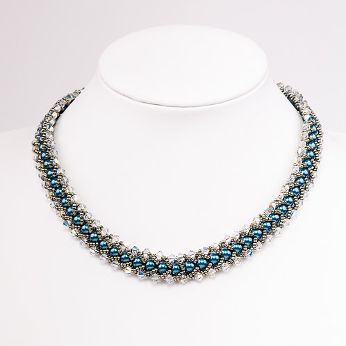 Hand stitched Swarovski crystal necklace
