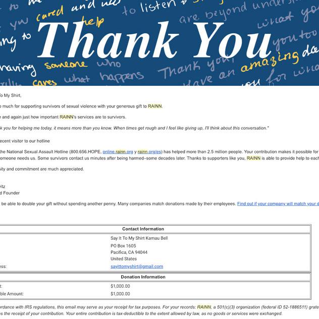 RAINN donation #1